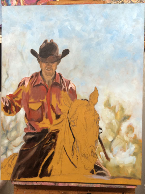 "Painting in progress ""Workin' Cattle"""