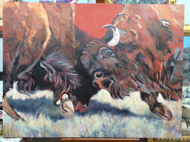 """Painting in progress """"Let's See Who Is Boss"""""""